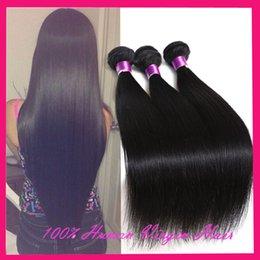 Peut teindre remy extensions de cheveux en Ligne-7A Remy brésilienne Vierge Cheveux raides 3Pcs Natural Black peut être teint 100% non transformés Human Hair Extensions brésiliens Aucune Tangle Aucun