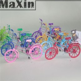 Wholesale 7 Colors Handmade Bicycle Model Creative Gift Ornament Bicycle Toy Aluminum Wire Fork Collectibles Children Toys Home Decoration order lt no