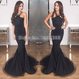 Charming Arabic Dresses Evening Wear Black Mermadi Halter Neck Crystals Beads Long Celebirty Red Carpet Runway Dress Cheap Prom Gowns 2016