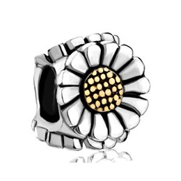 Wholesale and Retail Rhodium and Gold Plating Large Hole Sunflower European Charm Bead Fits Pandora Charm Bracelet