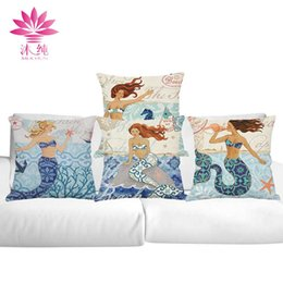 muchun Brand Thicken Pillow Case Mermaid Style 2017 New Arrival 45*45cm Christmas Cotton Linen Home Textiles Decorative Pillow Cover