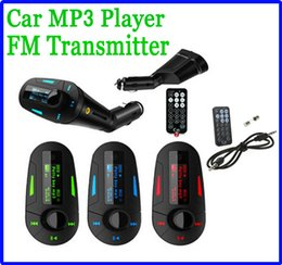 Wholesale Car MP3 Kit Payer Music Player WMA Wireless FM Transmitter Radio Modulator Multi color LCD With USB SD MMC Slot Remote control audio cable