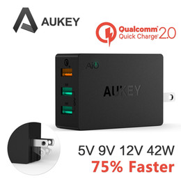 Aukey 42W 3 Port Intelligent Multi USB Quick Wall Charger Quick Charge 2.0 Fast Turbo Charger with Auto Detect For Samsung HTC