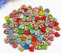 Wholesale 100pcs set Multicolor Heart Shaped Holes Wood Sewing Buttons Scrapbooking Knopf Bouton