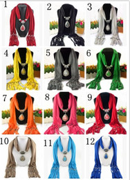 Wholesale Scarf Jewelry with Gemstone Resin Waterdrop Pendant Scarves Tassel Alloy Jewelry scarf Jewellery Fashion Charms Necklace Mix Color LD