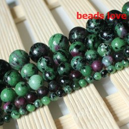 Pick Size 4.6.8 .10MM Red Green Ruby Zoisite Stone Round Loose Beads Free Shipping-F00192