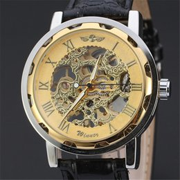 Wholesale 2016 Fashion Winner Black Leather Band Stainless Steel Skeleton Mechanical Watch For Man Gold Mechanical Wrist Watch dhl