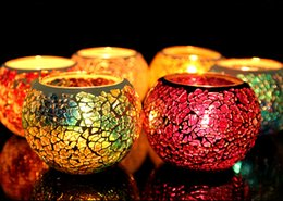 Wholesale 2016 Best selling Mosaic glass candle holders european style candlelight dinner wedding candle cup furnishing articles wedding gift creative