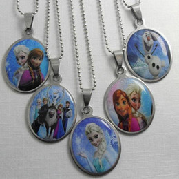 Wholesale 30pcs New Frozen Anna Child Necklace Frozen Stainless Steel Pendant Necklace mm inch Sterling Silver Necklace Jewelry