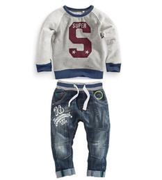 Bébé cowboy vêtements en Ligne-Vêtements pour manteaux pour bébés Habillement Autumn Spring Children Vêtements pour enfants Color Matching Cowboy Boots Pantalons Suit For Baby Girl Kids