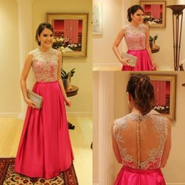 Sheer Appliqued Formal Evening Dresses 2015 Jewel Lace Covered Buttons A line Fashion Satin Fabric Prom Party Gowns Custom made