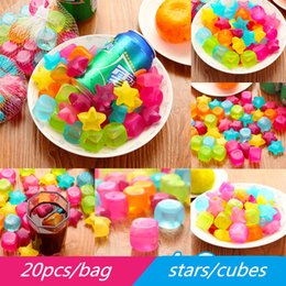 Wholesale Fashion MINI Color Stars Cubes Ice Tray Eco Friendly Safe Reusable Ice Mold Maker DIY Push Up Cool Drinking Accessories Summer Supplies