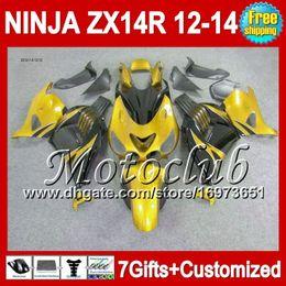 Gold black 7gifts For KAWASAKI 12 13 12 13 ZX14 R ZX-14R Golden black 25C141 ZX 14R 2012 2013 2012 2013 ZX 14 R NINJA ZX14R 12-13 Fairing