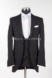 Wholesale news years custom made Design Black Peak Lapel Groom Tuxedos Groomsman Best Man Suits Jacket Pants Vest Tie