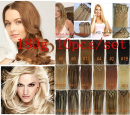 "7A 14""- 26"",10pcs Unprocessed Brazilian remy Hair straight clip-in hair remy human hair extensions, 12 colors for choose ,180g set,"