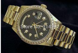 Factory Supplier lUXURY WATCH NEW Men's Automatic mechanical MENS 18K GOLD WATCH w DIAMONDS Wristwatch