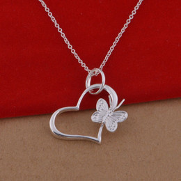 925 sterling silver necklace Korean version of the popular butterfly heart necklace jewelry wholesale trade spot