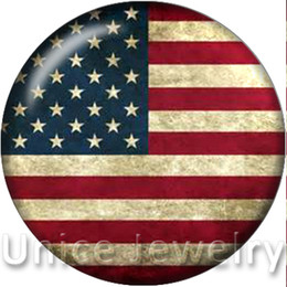 AD1301152 12, 18,20mm Snap On Charms for Bracelet Necklace Hot Sale DIY Findings Glass Snap Buttons American flag Design noosa