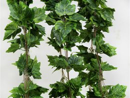 Wholesale 15 off sale like real artificial Silk grape leaf garland faux vine Ivy Indoor outdoor home decor wedding flower green christmas gift
