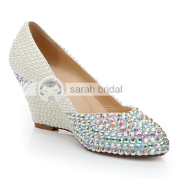 2019 Custom Wedding Shoes With Rhinestone Pearls Round Toe Wedge Heel Leather Fashion Ivory Woman's Party Prom Shoes For Bridal LSDN1130