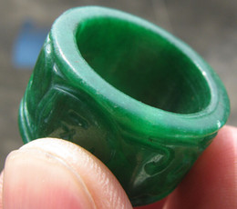 Chinese green stone jade hand carved man band ring size9