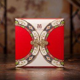 Promotion arcs décorations mariage 2016 Cheap Cartes De Mariage Invitations Avec Bow Livraison gratuite Accessoires De Mariage 100pcs Décorations De Mariage 150X150MM Pour Mariages