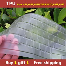Wholesale-TPU laptop Keyboard cover skin protector for asus N43,X43S,X43U,X43B,K42D,K42E,K43T,buy one gift one