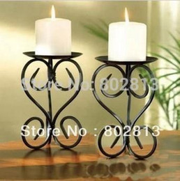 Wholesale EU Iron Candlestick Table Candle Holder Floor Candlestick Mediterranean Style Rust Proofing Handmade pair