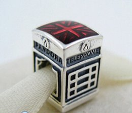 925 Sterling Silver London Calling Charm Bead with Red Enamel Fits European Pandora Jewelry Bracelets & Necklaces