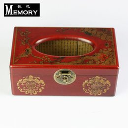 Wholesale Chinese style wooden antique pumping tissue pumping box vintage quality rectangle table napkin paper storage box