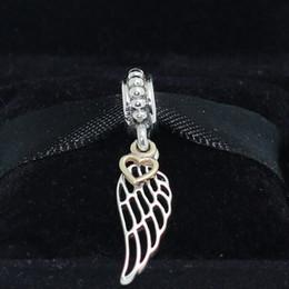 Anges ailes à vendre-Argent 925 14K réel Or Ange Perle Wing Dangle Charm Fit Style Européen Pandora Bracelets Bijoux Colliers