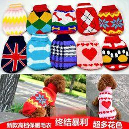 Fuentes del perro muelles en Línea-ropa perro mascota la ropa del traje Animales suéter de la manera del resorte que basa alimentos para mascotas Loading suéteres para perros Gatos del vestir prendas de vestir