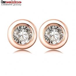 Wholesale-LZESHINE Brand Punk Style SWA s Austrian Crystal Stud Earrings 18K Rose Gold Plate Round Earrings For Boy Girl ER0144-A