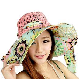 Wholesale-Stylish 2015 Summer Floppy Anti UV Sun Hats For Women Foldable Floppy Sun Cap Wide Brim Hat Beach Headwear for lady
