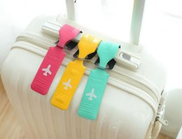 Wholesale 7 Jelly Color Cute Striped Style Leather Suitcase Travel Luggage Tags Name Address List Leather Luggage Tag High Quality