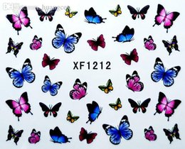 Wholesale Fashion French with ancient butterfly style of Design Tip Nail Art Nail Sticker Nail Decal Manicure Mix Color nail tools