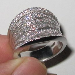 Women's 925 Silver Filled Simulated Diamond CZ Stone Paved Wedding Band Ring Size 6-10