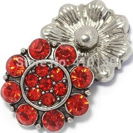 NSB1335 Hot Sale Snap Buttons Jewelry Button For Bracelet Necklace Fashion DIY Jewelry Red Crystal Alloy Snaps Charms
