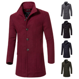 Wholesale Casual Trench Coats - Fashion Single Breasted Jackets Mens Coats Overcoats Mens Casual Slim Long Trench Coat Mens Winter Warm Windbreaker