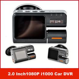 Cámaras de guión recuadro negro en venta-Doble lente de la videocámara i1000 de doble cámara del coche DVR HD 1080P Dash envío Negro Caja Con Cam 2 Cam posterior del tablero de instrumentos del vehículo Ver Cámaras gratuito