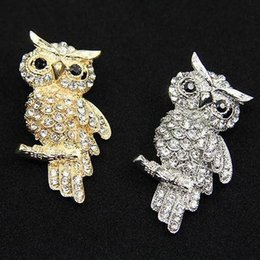 Wholesale Fashion Delicate Owl Lovely Crystal Acrylic Animal Brooch For Jewelry Pins ABC