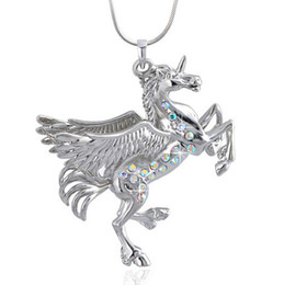 Austrian Crystal Necklace Horse Pendant Full Diamond Colorful Rhinestone Fly Horse With Wing Lady Women Alloy Pendant Necklace