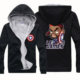 Wholesale NEW CHEAP BASKETBALL JAMES AMERICAN CAPTAIN Winter Sports Coats Mens Hoodies Sweatshirts Cardigan Thickening Plus Velvet Jacket