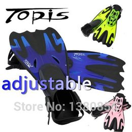 Wholesale Topis adjustable fins men women free swimming training long flippers mermaid diving scuba snorkel shoes equipment feet monofin