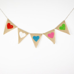 Wholesale Burlap Wedding Banners Heart Wedding Photo Prop Bunting Personality Wedding Sign Vintage Fabric Garland