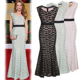 Wholesale Women Runway Dresses Lace Sleeveless Trumpet Floor Length Slim Fashion Party Dresses Plus Size Women Clothing Brand Star Style