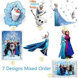 Wholesale Mix Order Removable Elsa Frozen Wall Stickers Decoration Princess Decorative Wall Decall for Kids Rooms Poster Wall Pape Art