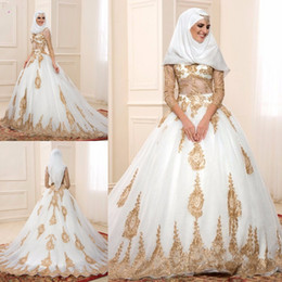 Muslim Gold Lace Wedding Dresses 2016 with Sheer Long Sleeve A Line Vestido de Festa Ruffles Pleats Long Bride Gowns with Hearpiece