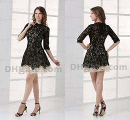 High Quality Lace Half Sleeves Mini Party Prom Celebrity Dress 2015 Gossip Girl Black Lace With Nude CBD001