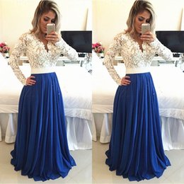 Gorgeous Robes Soiree Long Formal Evening Dresses V Neck Illusion Sleeves Lace Top Sheer Back Custom Made High Quality Gowns